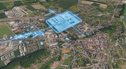 Legionslager-Plan Lauriacum im modernen Stadtbild von Enns (Foto/Visualisierung: 7reasons)