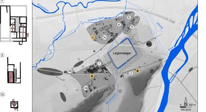 Lauriacum/Enns (1. Hälfte des 3. Jahrhunderts. n. Chr.). Hellgrau – Rekonstruierte Siedlungsausdehnung. Dunkelgrau – Gräberfelder. (Plan: Freitag/Sedlmayer)